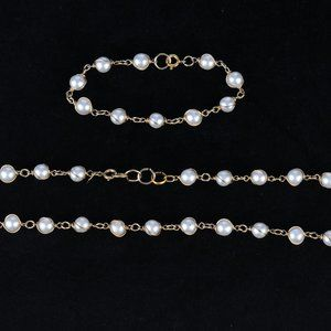 Sarah Coventry White Pearl Necklace & Bracelet